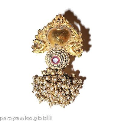 Tamil Nadu Earrings, 22k Gold-Rubis-Basra Pearls  (0729) 6 • CAD $6,521.84