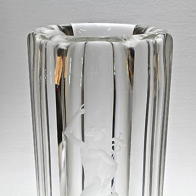 7 Of 11 Large Kosta Boda Art Decp Gl Vase Engraved With A Figure Mercury