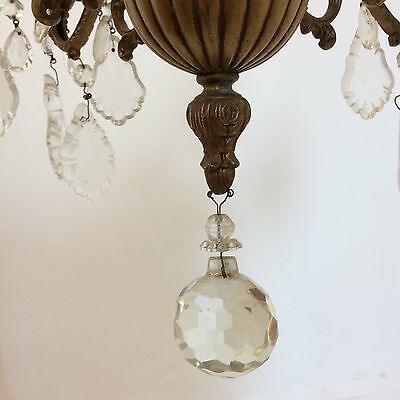 Antique Style Brass and Crystal Chandelier 5