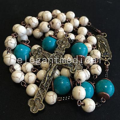 White Turquoise & bule Turquoise beads Vintage Catholic Rosary Cross Necklace 4