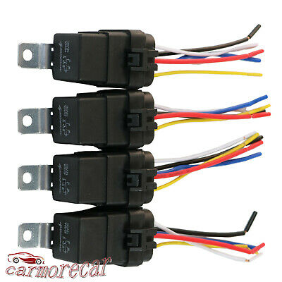 10 Pack 12 5-Wire 4-Pin Relay Harness Socket w/ Leads ERS ... Wiring A Pin Relay on