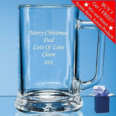 Personalised Engraved Pint Beer Glass Tankard 18th 21st 30th 50th Birthday Gift 3