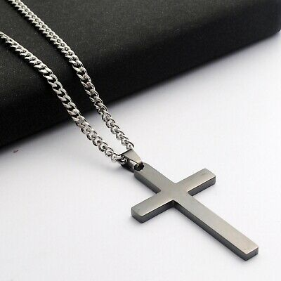 Stainless Steel Plain Silver Jesus Cross Crucifix Pendant Necklace Mens & Womens 5