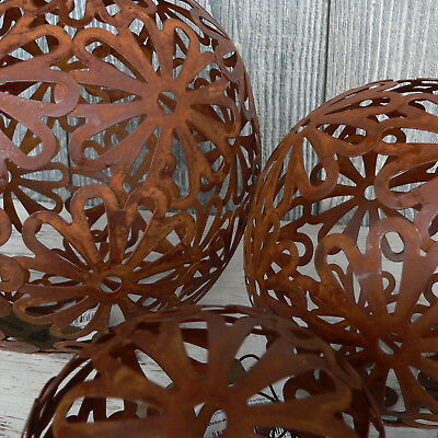 3er Set Gartenkugeln 10-20cm Metallkugel Kugel Rost Braun wie Edelrost Ornamente