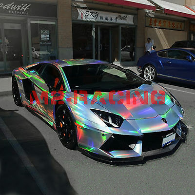 Holographic Blue Rainbow Neo Chrome Car Vinyl Wrap Bubble Free