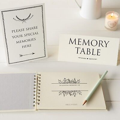 A5 Luxury Ivory Memory Book & 2 Signs Set - Funeral, Condolence Book, Memorial 5