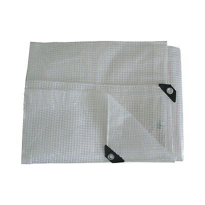 Heavy Duty Reinforced Mesh Clear Waterproof Tarpaulin Cover Mono Sheet Clear 6