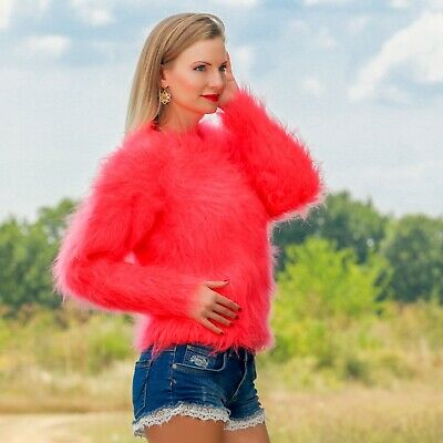 81f6d3f93d2 NEON RED CORAL cropped mohair sweater fuzzy top hand knitted jumper  SUPERTANYA