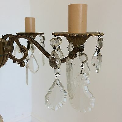 Antique Style Brass and Crystal Chandelier 4