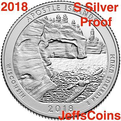 2018 S REVERSE Apostle Island 90% Silver Proof Park Quarter Wisconsin ATB Best 2