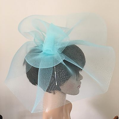 duck egg light pale baby blue feather headband fascinator millinery wedding 3