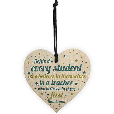 Gift For Teacher And Assistant Wood Heart Plaque Thank You Gifts Leaving School 5