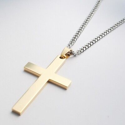 Stainless Steel Plain Silver Jesus Cross Crucifix Pendant Necklace Mens & Womens 12