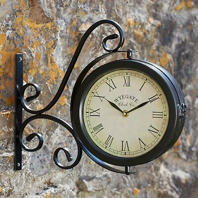 Wyegate Garden Station Clock Wall Mount Rooster Outdoor Thermometer Double Sided 2