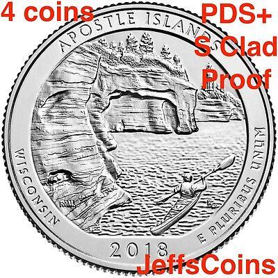 2018 PDSSS Apostle Islands Park WI +Clad&Silver Proof Quarter P D S S S ATB Best 3