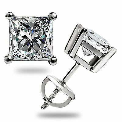 3.1 Ct Solitaire Princess Cut Stud Earrings Lab Diamond 14K White Gold Screwback 10