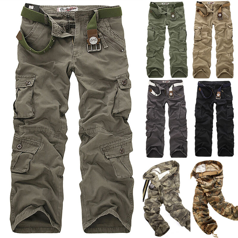 Mens Combat Cargo Trousers Work Tactical Military Army Camo Chino Long Pants AU 5