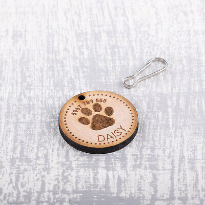Personalised Engraved Wooden Pet ID Collar Tags Cat Dog  35mm Paw Print 2