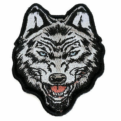 Embroidered Sideways Wolf Sew or Iron on Patch Biker Patch