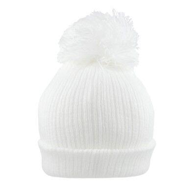Baby Pom Pom Hat Bobble Beanie Double Knitted Boy Girl Infant Newborn-12 Months 3