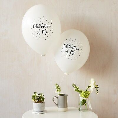 Angel & Dove 25 White 'Celebration of Life' Biodegradable Latex Funeral Balloons 2
