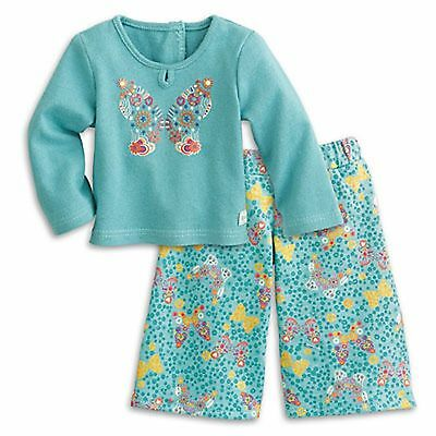 American Girl BUTTERFLY GARDEN Pj/'s pajamas slippers charm green NO Doll