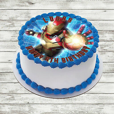 Iron Man Edible Round Birthday Cake Topper Decoration Personalised 2