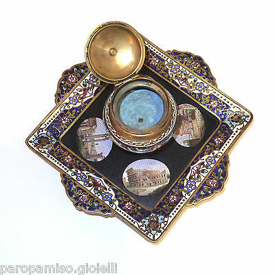 French Inkpot, 2nd half of 19th c., with Roman Micro Mosaics     (0529) 8