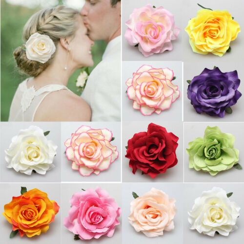 Large Rose Flower Hair Clip or Brooch Vintage 1950s Bridal Prom Rockabilly New