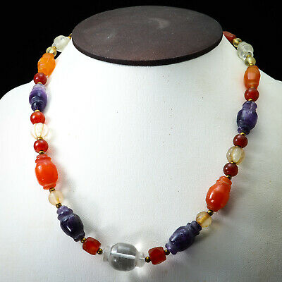 Assortment Ancient Beads Collared Bicone Carnelian Amethyst Crystal Necklace 7