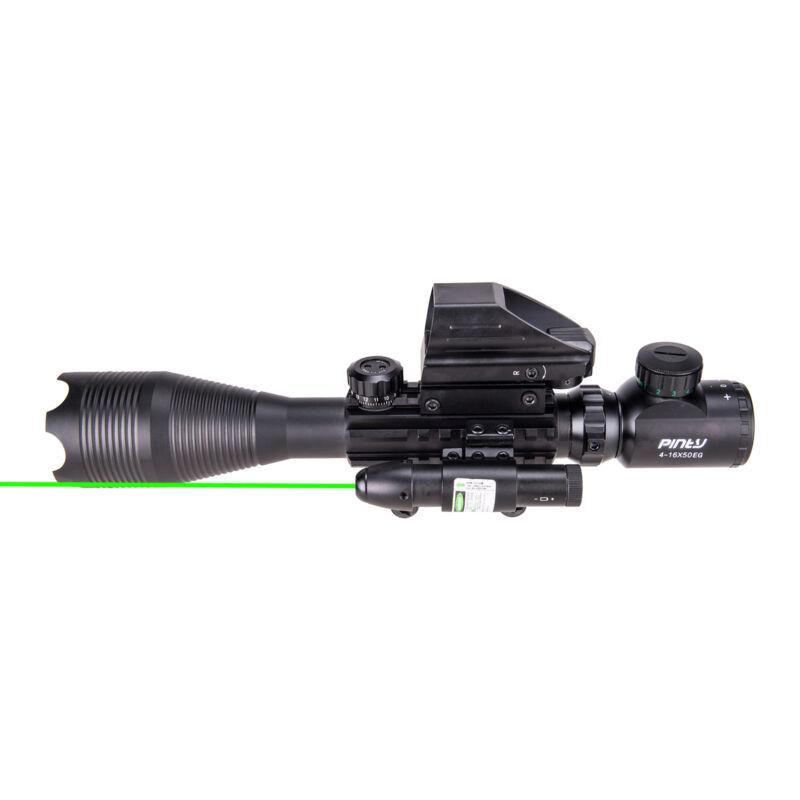 4-16x50 3in1 Combo Rangefinder Rifle Scope W/Green Laser &Reflex Dot Sight Scope 4