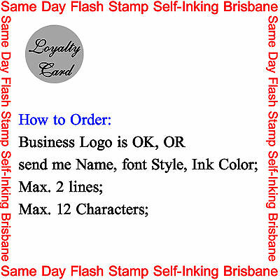 10mm Custom Business Logo / Name Reward Loyalty Card Flash Stamp Pre Self Inking