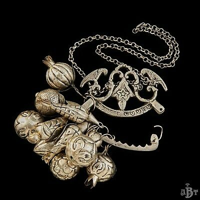 Antique Vintage Victorian Sterling Silver Ragastens Penca Balangandan Necklace 4