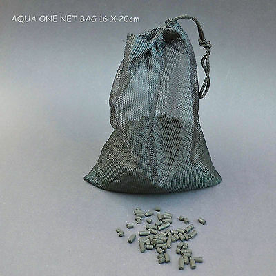 ONE GENUINE AQUA ONE DRAWSTRING CARBON OR NOODLE NET BAG=20X16cm=£1.99 FREE POST
