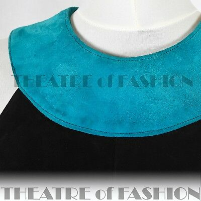 DRESS 60s SUEDE LEATHER VINTAGE OUTSTANDING ART ICONIC RARE LIKE COURRÈGES GOGO 8
