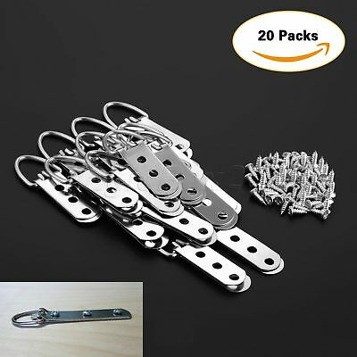 20/40Pcs 64*23mm Heavy Duty D-Ring Picture Hangers Frame Hanging 3 Hole + Screws 5