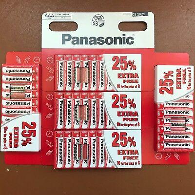 50 x AAA Genuine PANASONIC Zinc Carbon Batteries LR03 1.5V MN2400 Longest Expiry