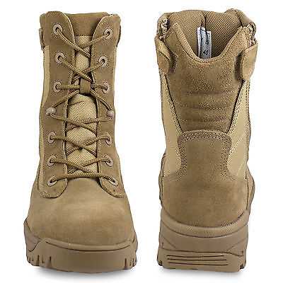 a0a6ad56fd5 MIL-TEC DOUBLE SIDE Zip Tactical Combat Army Military Desert Boots Tan ALL  SIZES