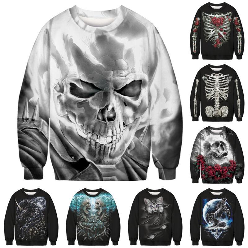 Unisex Ugly Christmas Sweater Santa Women Men Xmas Jumper Casual Sweatshirt Tops 12