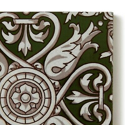 Antique Tile Victorian Aesthetic Gothic Arts Crafts Floral Lea Hearth Green Gray 4
