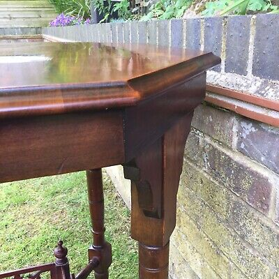 Antique Hall Side Table Victorian Occasional Old Turned Mahogany Stretcher 4