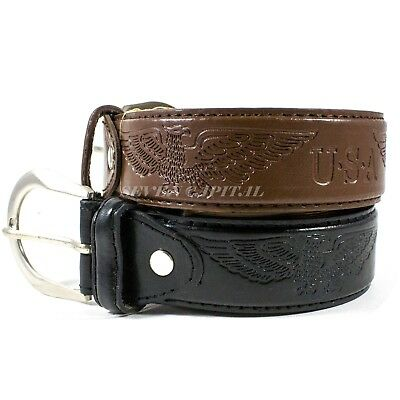 Men's Genuine Leather Dress Jeans Belts With Buckle Causal Black Brown M L XL 2
