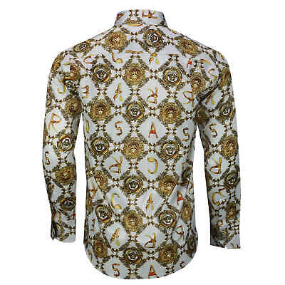 Mens Retro Gold Print on White Italian Designer Style Silky Feel Dress Shirt 3