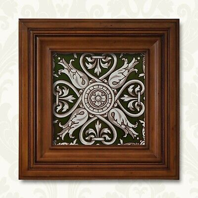 Antique Tile Victorian Aesthetic Gothic Arts Crafts Floral Lea Hearth Green Gray 12
