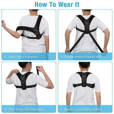 Adjustable Back Posture Corrector Clavicle Spine Shoulder Lumbar Brace Support 6