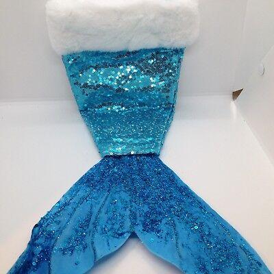 Mermaid Christmas Stocking.Blue Sequin Mermaid Tail Christmas Stocking Glitter White Fur 22 Inch Decor