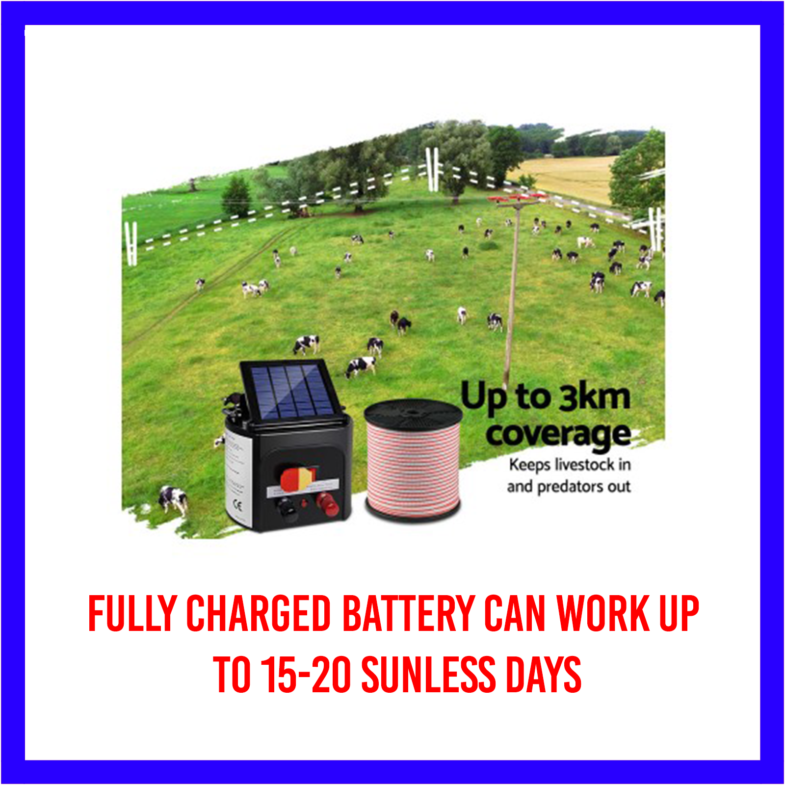 3km Solar Electric Fence Energiser/Charger Kit 400m Tape 25 Insulators and Sign 8