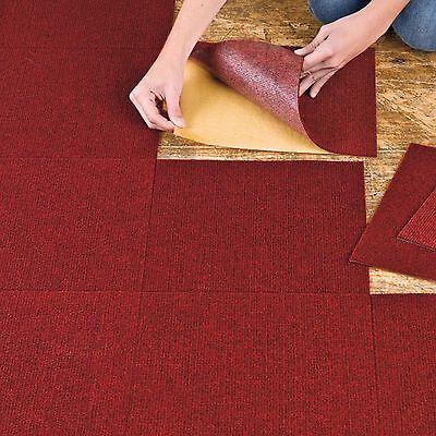 CARPET FLOOR TILES Self Adhesive Peel N Stick Flooring Tile Planks ...
