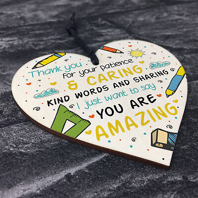 Gift For Teacher And Assistant Wooden Heart Nursery Thank You Gifts Leaving Gift 8