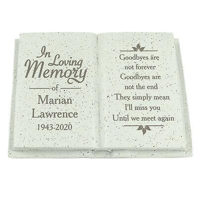 Personalised Memorial Book / Bible Plaque Garden Grave Ornament Cross Rose 8